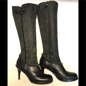 Via Spiga leather & shearling knee high boots